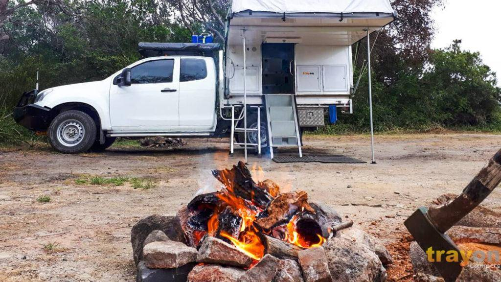 White Single Cab 2018 Isuzu Dmax 4x4 ute with Trayon Slide on Camper camp fire