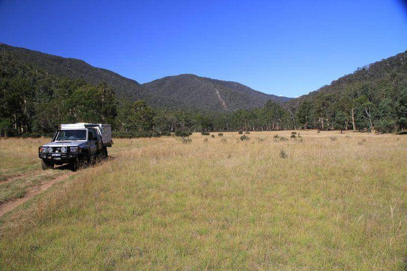 Dargo River Crossing, grassy plains Victorian High Country