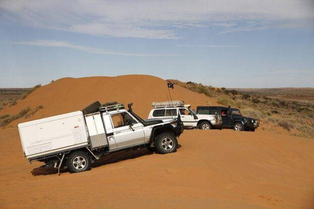 Poeppel Corner - Hay River Track. - Trayon Campers Sand Dunes 4WD Big Red Toyota 79 Series Landcruiser Slide on Camper. Simpson Desert.