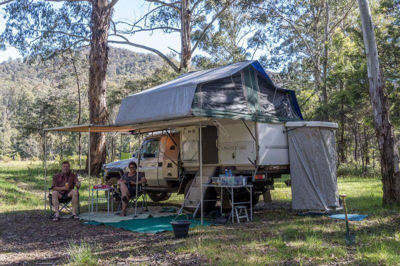 Mayford campground - Victorian High Country Landcuiser 79 Series canvas slide on camper campchair shade