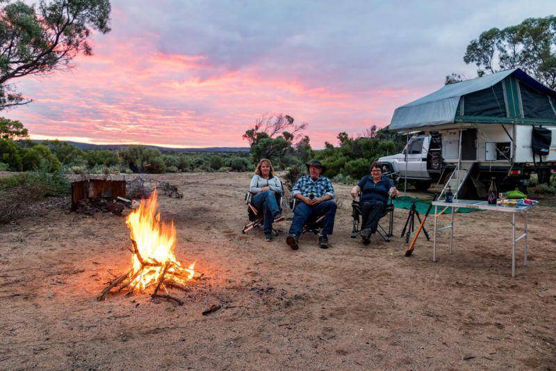 Fitzgerald Bay Campgrounds north of Whyalla - Eyre Peninsula  camp fire Trayon camper camp chair