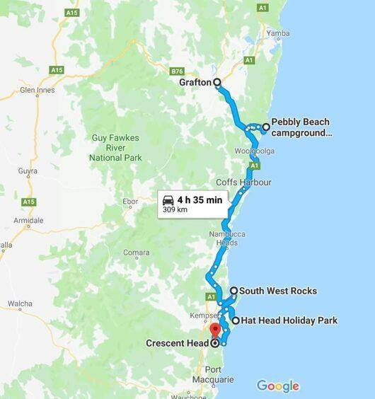 Grafton to Cresent Head Map - New South Wales North Coast Camping Map