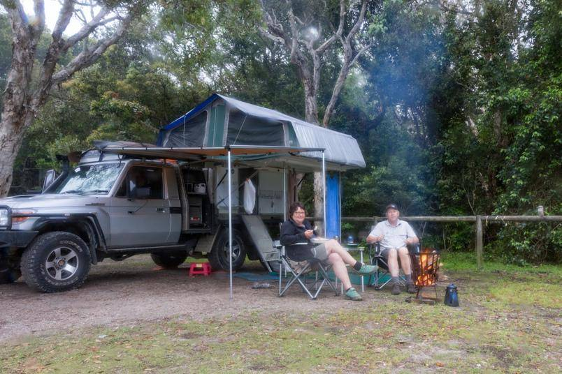 Crowdy Bay National Park NSW 79 Series Landcruiser. Diamond Head campground fireplace Trayon Slide on Camper