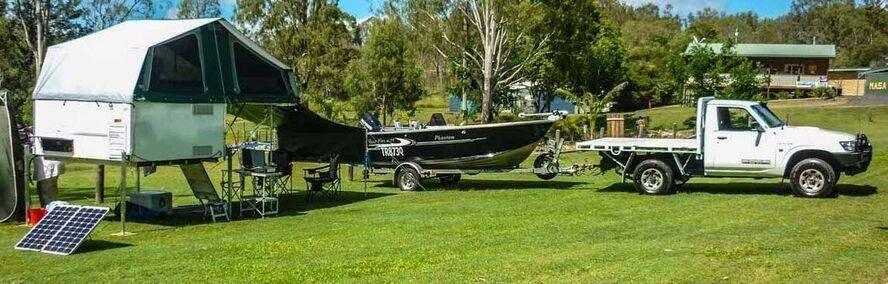 Slide on camper - Camper Trailer Trayon camper with boats