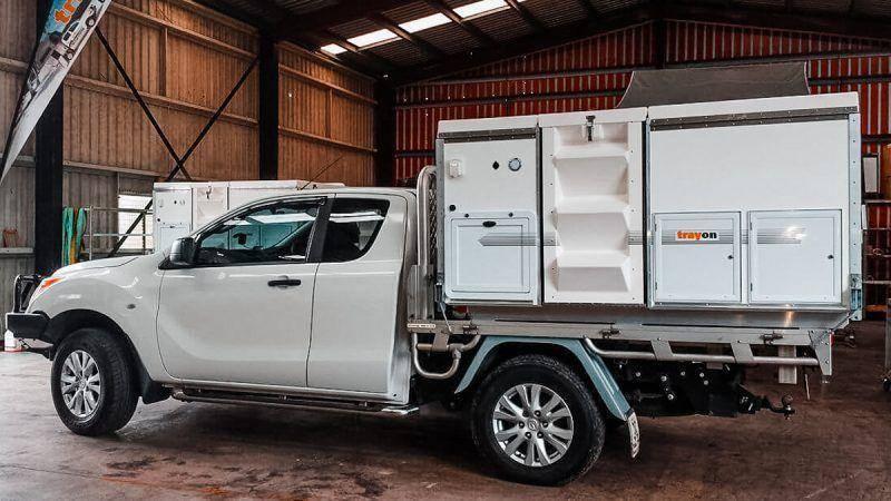 White 4x4 2018 Mazda Bt-50 Freestyle Cab Trayon Slide on Camper side profile alloy wheels