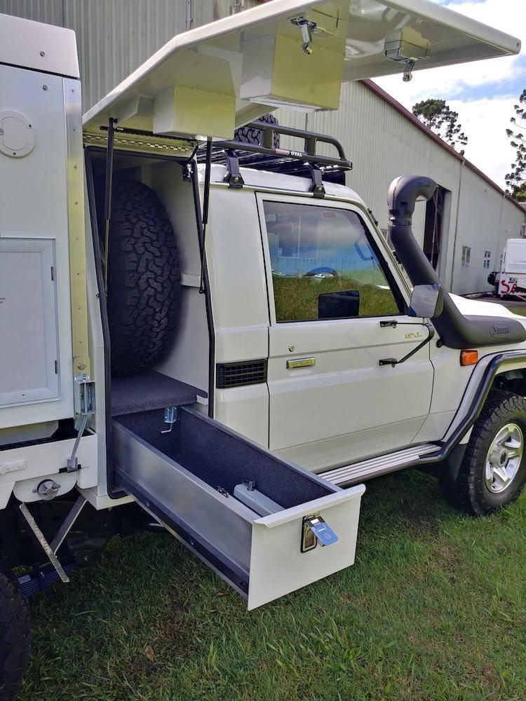 Trayon Gullwing Landcruiser - 4x4 Expedition Vehicle In Australia - Storage Box Behind Cab