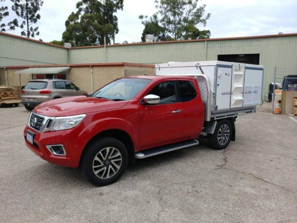 Red Nissan Navara King Cab Trayon Slide on Camper
