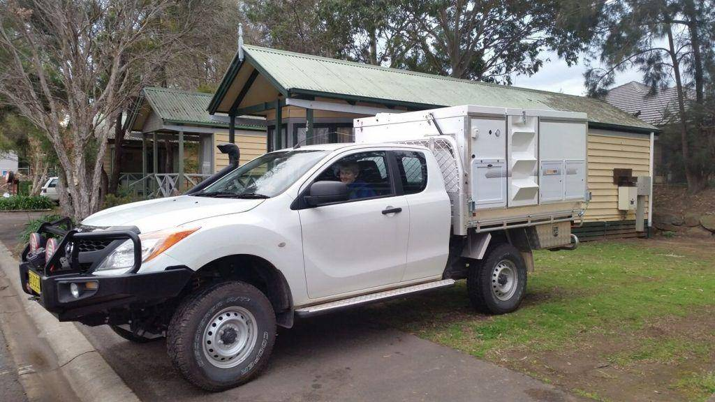 White 4x4 2018 Mazda Bt-50 Freestyle Cab Trayon Slide on Camper snorkle campground