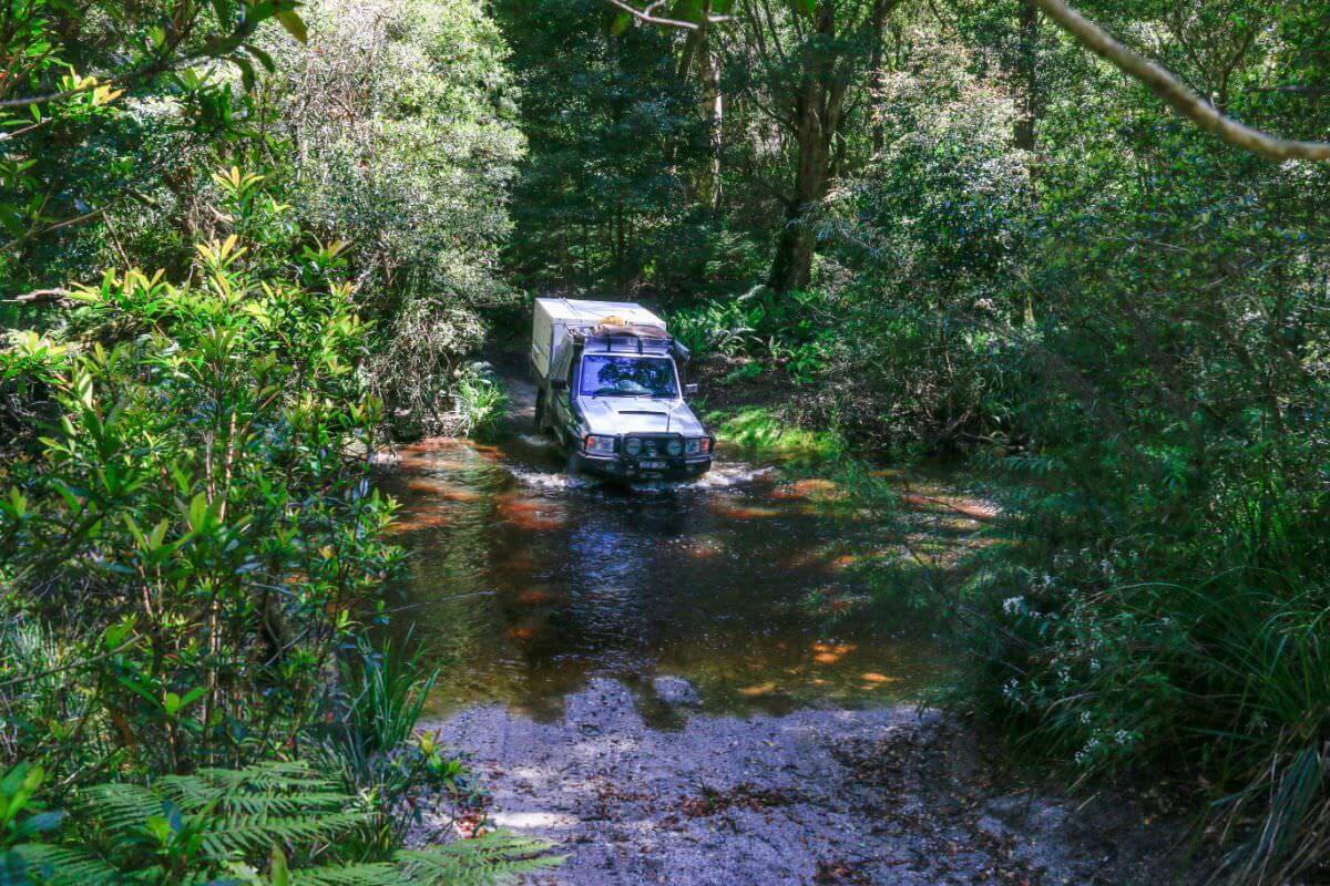 Croajingolong National Park - Cicada Track beside Thurra River, back along Point Hick Road. Toyota Landcruiser 79 Series Mud and Mueller River Crossing Trayon Slide on Camper. West Wingan Road