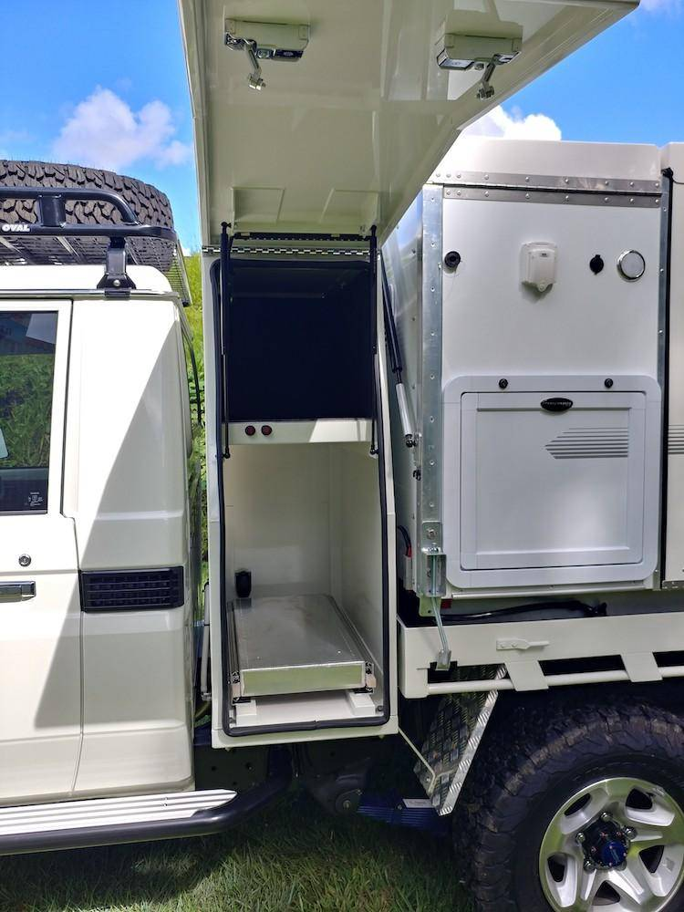 Trayon Gullwing Landcruiser - 4x4 Expedition Vehicle In Australia - Storage Box Behind Cab Maximizes Space