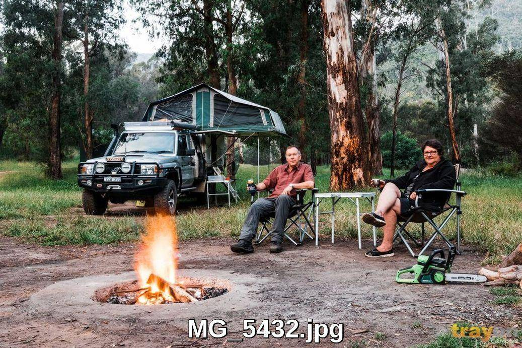 Camping in a Trayon Slide on camper Camper - 79 Series Toyota Landcruier Ute. Camp fire, gumtree