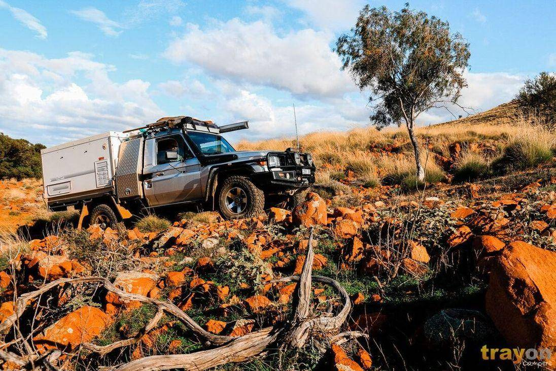 Single Cab Toyota 79 Series Landcruiser ute with Aluminium tool box and Trayon Slide on Camper exploring Australian Bush