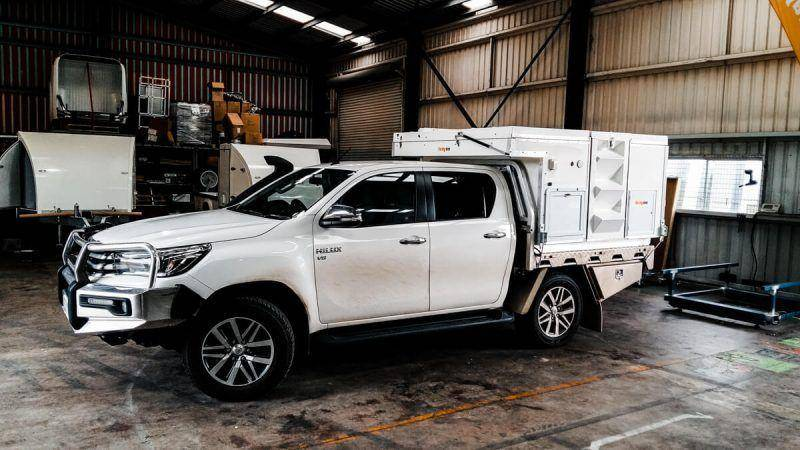 New Toyota Hilux 2018 - White Dual Cab with Aluminium Front Bar and Alloy wheels and snorkle. Offroad camper by Trayon Ute Campers
