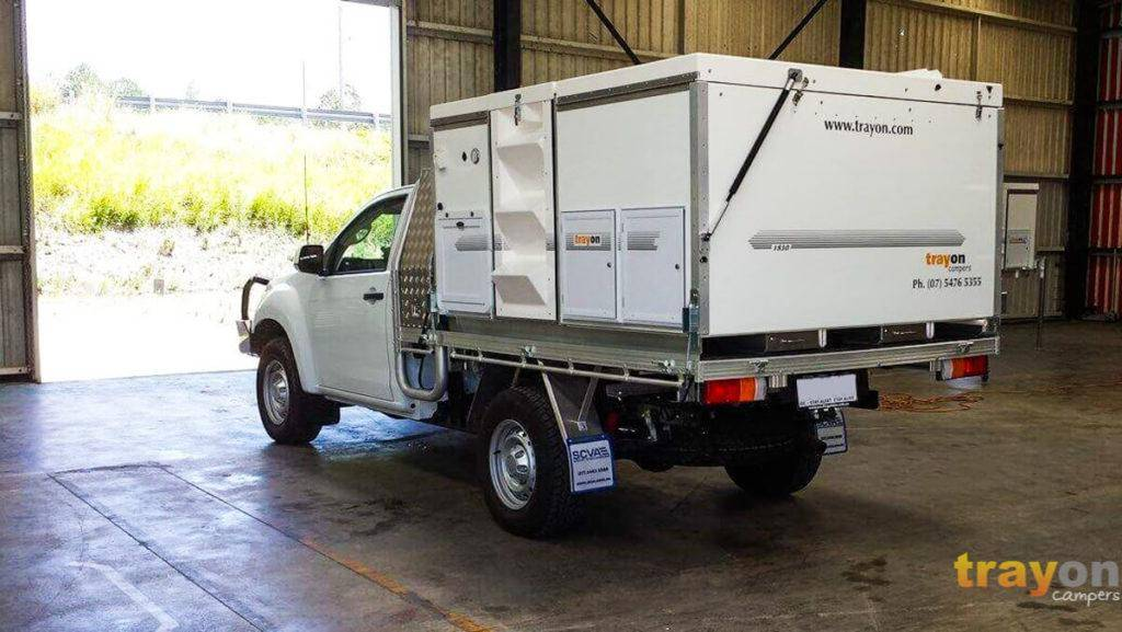 White Single Cab 2018 Isuzu Dmax 4x4 ute with Trayon Slide on Camper  in warehouse