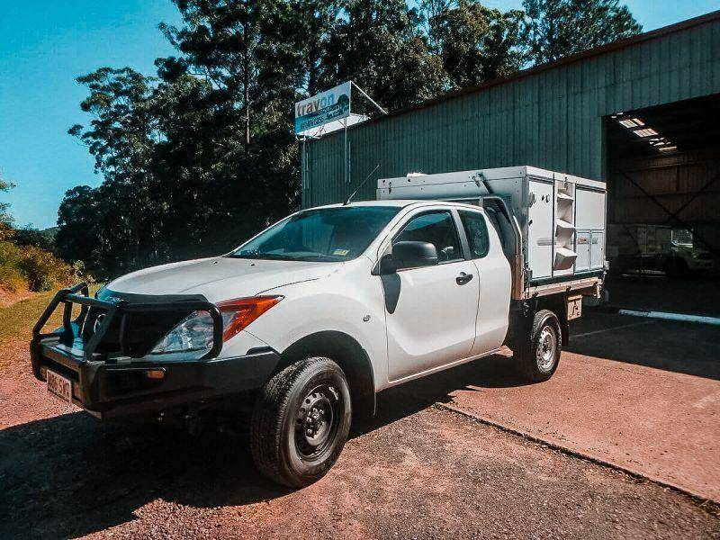 White 4x4 2018 Mazda Bt-50 Freestyle Cab Trayon Slide on Camper