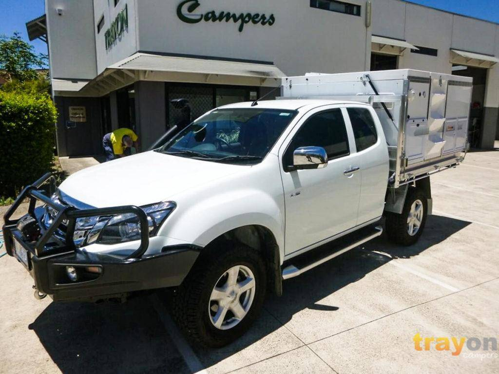 White Single Cab 2018 Isuzu Dmax 4x4 ute with Trayon Slide on Camper sunlight