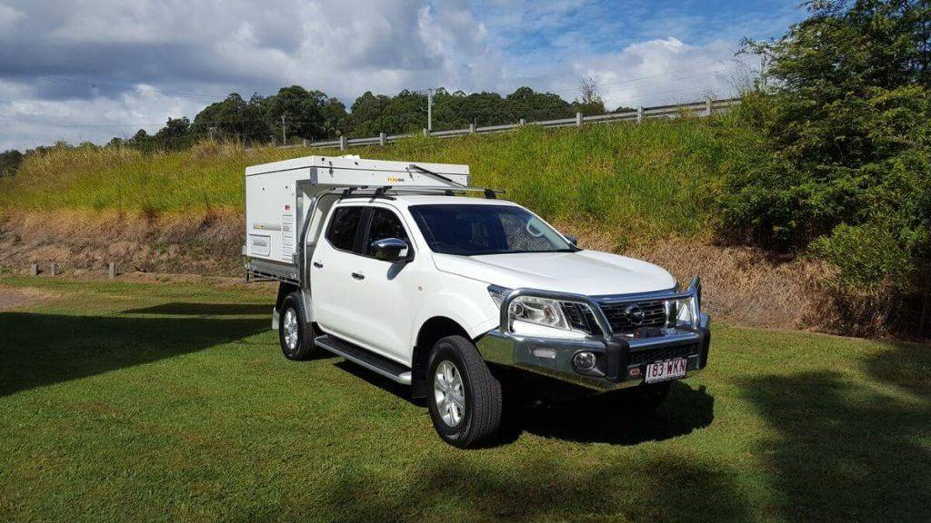 New 2019 Nissan Navara White Dual Cab with Trayon Ute back slide on camper