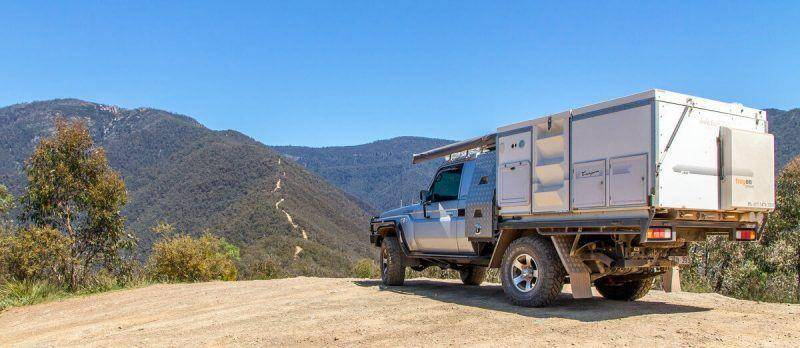 Crooked River Track - Victorian High Country Trayon Camper Landcruiser 79 Series Dirt Road
