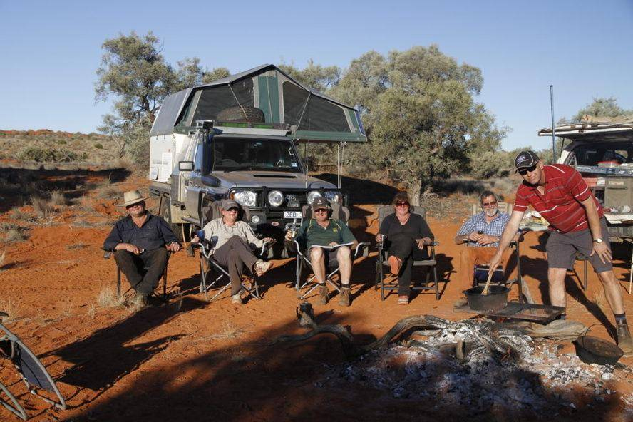 Madigan's camp Hay River Track Trayon Campers. Simpson Desert.
