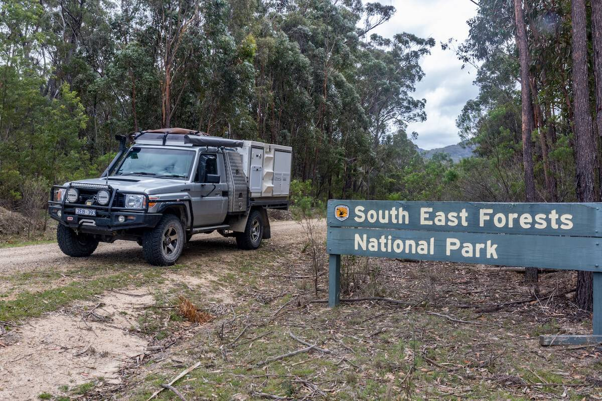 South East Forests National Park NSW Toyota Landcruiser with Trayon Camper