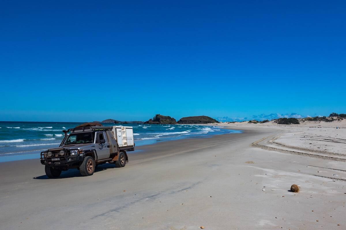 Cape Arnhem Landcruiser on beach