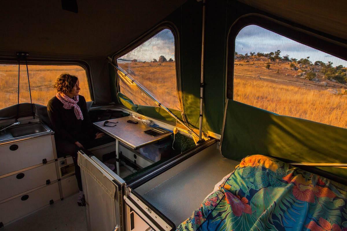 Trayon slide on camper interior