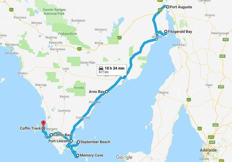 Eyre Peninsula, Lincoln National Park and Coffin Bay National Park Map From Port Augusta and Fitzgerald Bay