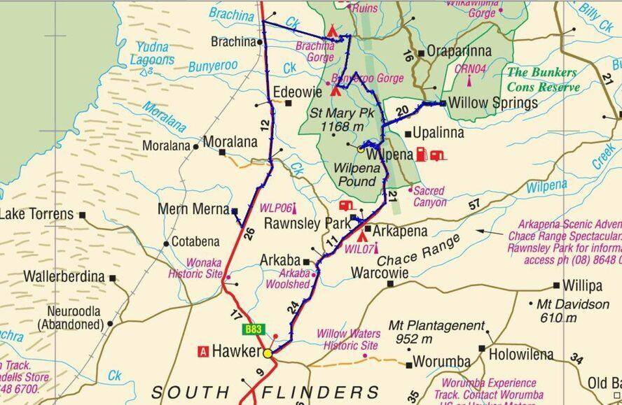 Flinders Ranges National Park Map