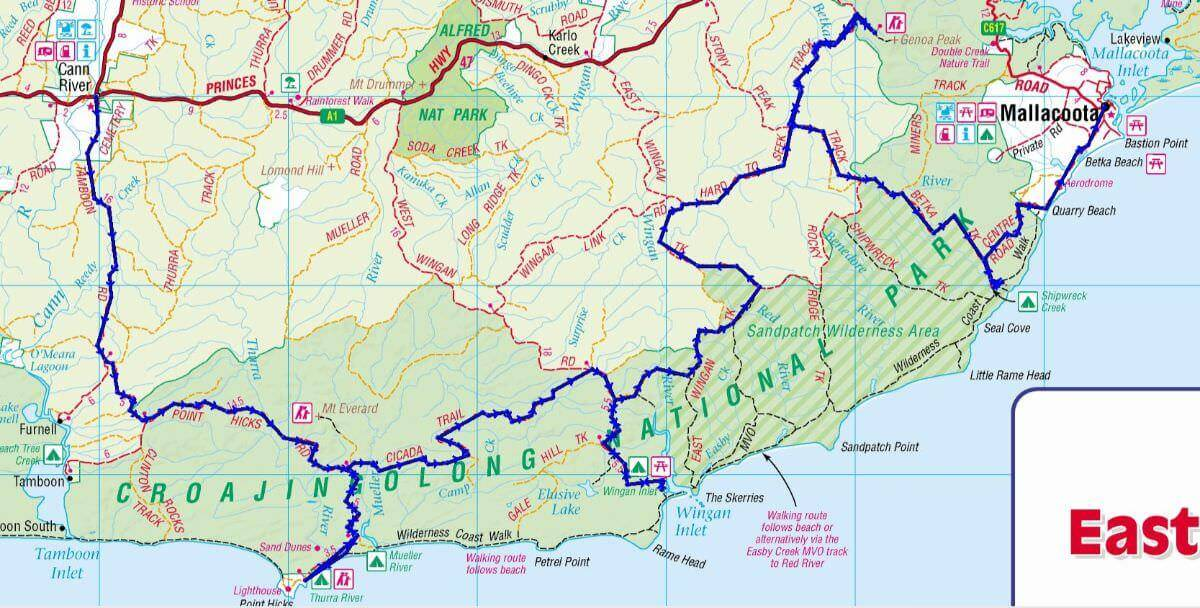 Croajingolong National Park Map VIC