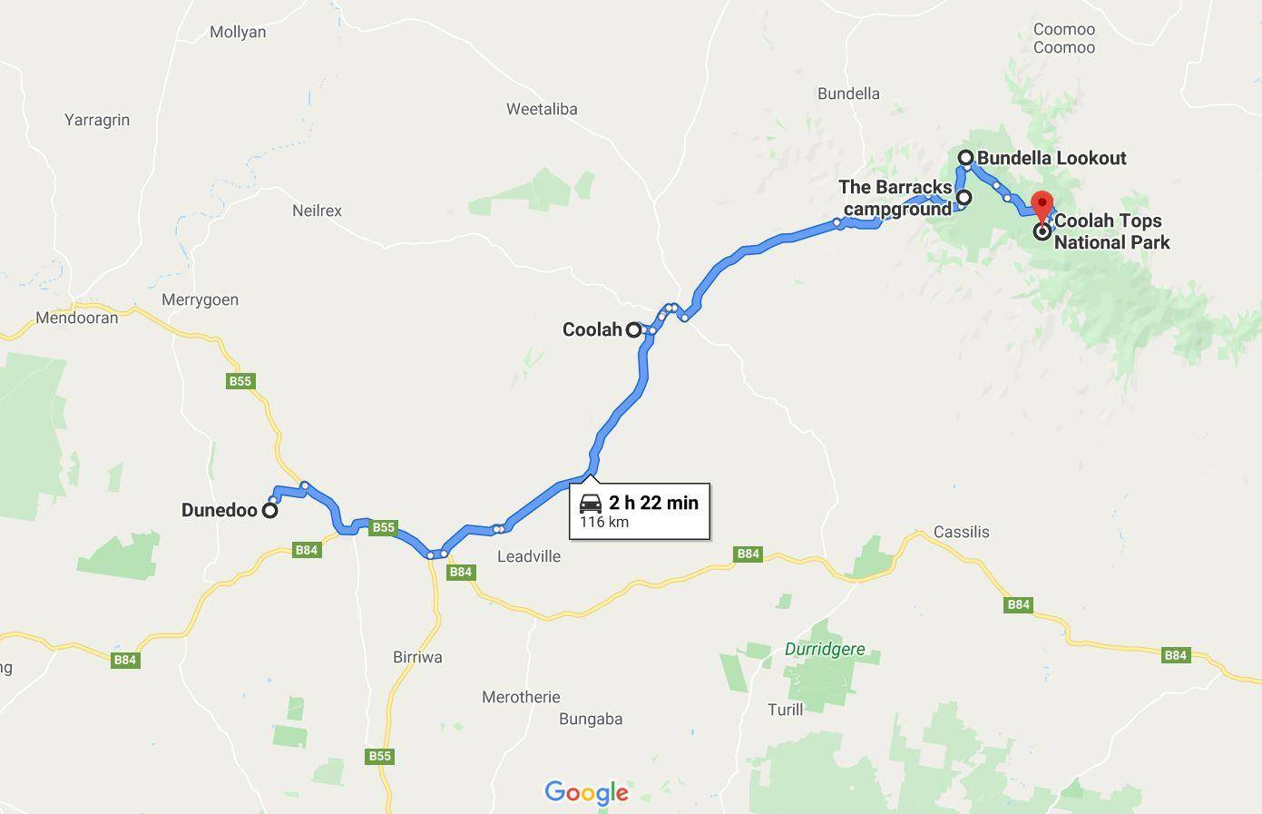 Coolah Tops National Park Map, NSW